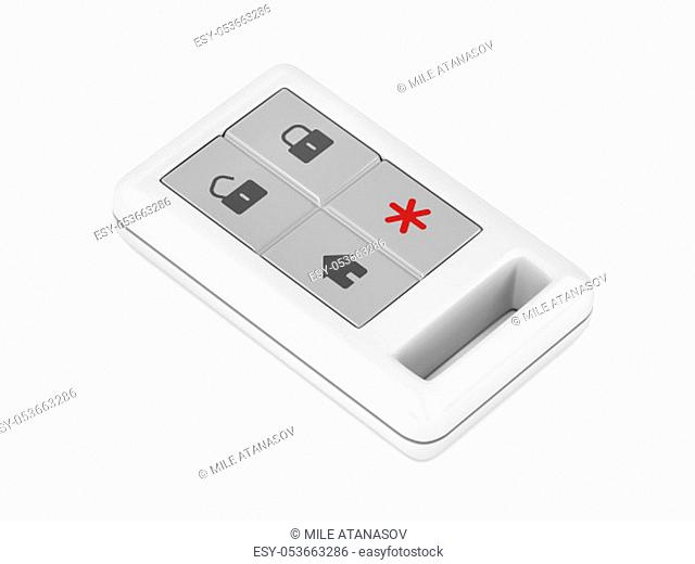 Home alarm remote control on white background