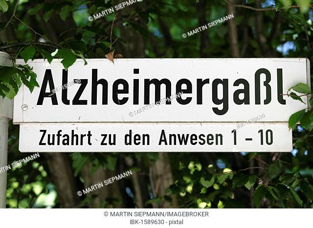 Street name Alzheimergassl in honor of Alois Alzheimer, Wessling, Fuenfseenland or Five Lakes region, Upper Bavaria, Bavaria, Germany, Europe