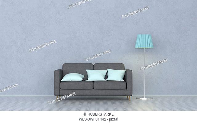 3D rendering, Couch with cushions and floor lamp