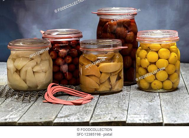 Preserved fruits (pears, cherries, plums, small yellow plums and apple)