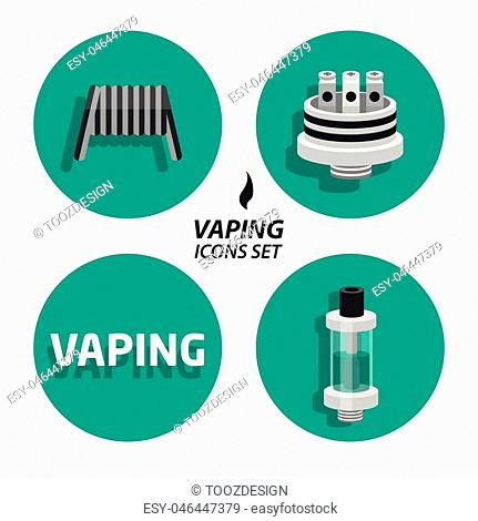 image trend Set collections vaping flat icons