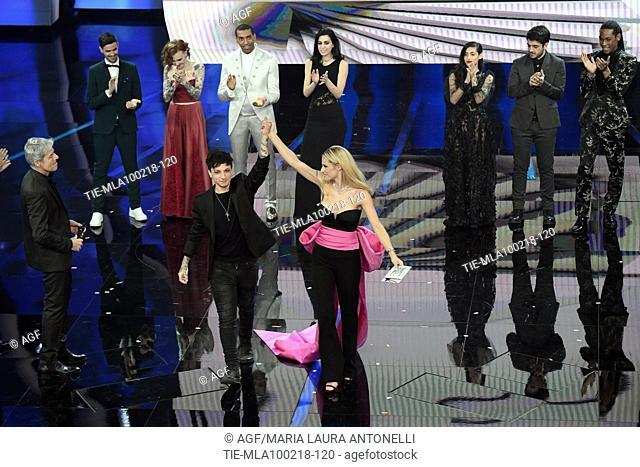 Claudio Baglioni, Michelle Hunziker, Ultimo during Sanremo italian music festival, Sanremo, Italy 09/02/2018