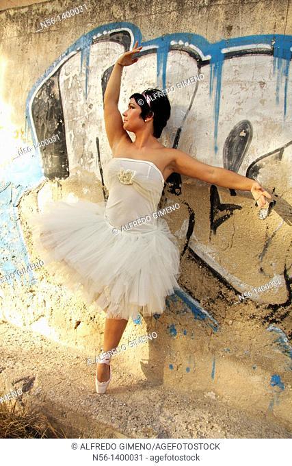 Dancer by graffiti