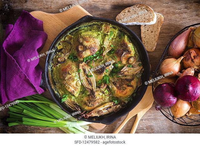 Onion roast chicken