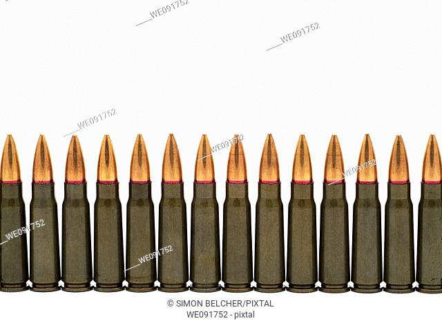 Bullets Lined Up Against A White Background