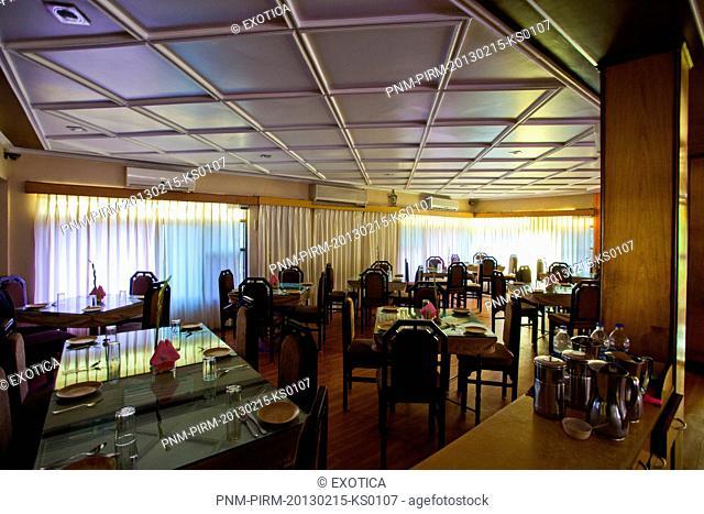 Interiors of a restaurant, Heera Family Restaurant & Bar, Mapusa, North, Goa, India