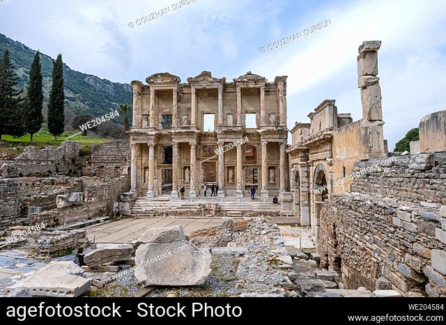 Selcuk, Izmir, Turkey - 03. 09. 2021: wide angle view of famous Celsus Library third largest library in the ancient world in Ephesus ruins