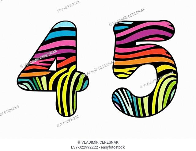 Background skin zebra shaped number four and five
