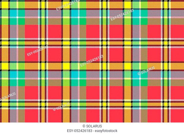 Madras check plaid pixeled seamless texture. Vector illustration