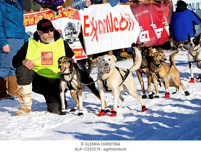 Iditarod musher with lead dogs at the 2014 Iditarod in Willow, Southcentral Alaska
