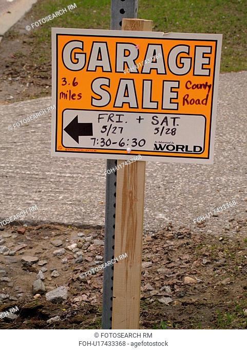 Garage Sale sign, Stock Photo, Picture And Rights Managed Image  Pic