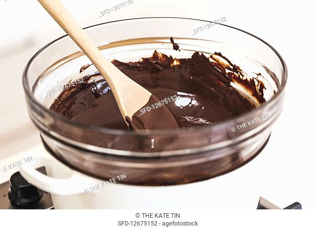 Melted chocolate in a bain marie