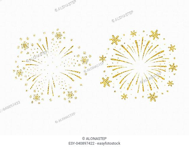 Fireworks gold set isolated. Beautiful golden firework on background. Bright decoration Christmas card, Happy New Year celebration, anniversary, festival