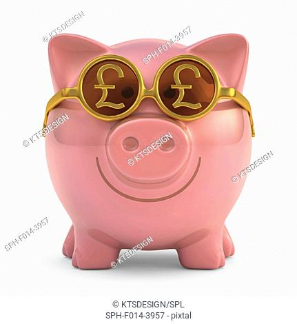Piggy bank wearing British Pound sunglasses, illustration
