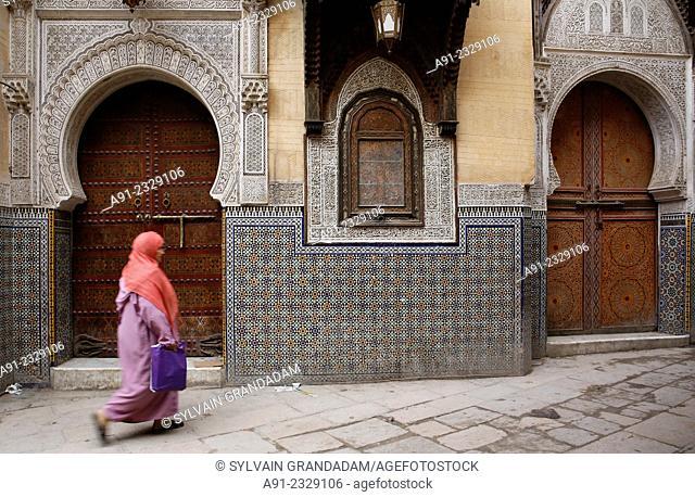 North Africa, Morocco, City of Fez (Fes), Medina, Sidi Ahmed Tijani zaouat shrine and mosque