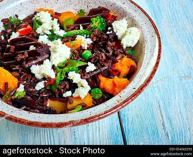 Chinese Black Rice, Beet and Kale Salad close up