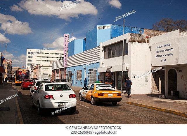 Modern buildings in the historic center, Merida, Riviera Maya, Yucatan Province, Mexico, Central America