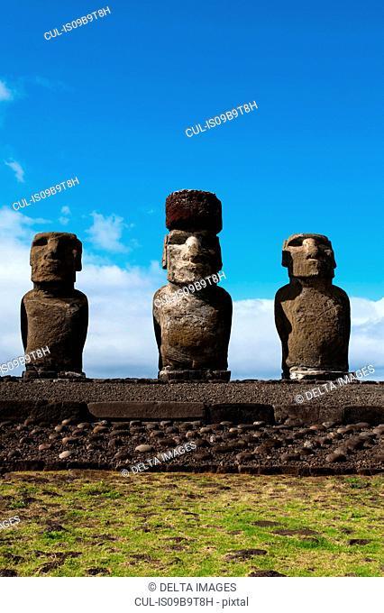 Ahu Tongariki, three moai statues on Easter Island