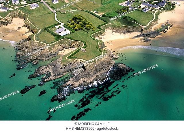 France, Finistere, Le Pouldu, the Blancs Genets beaches aerial view