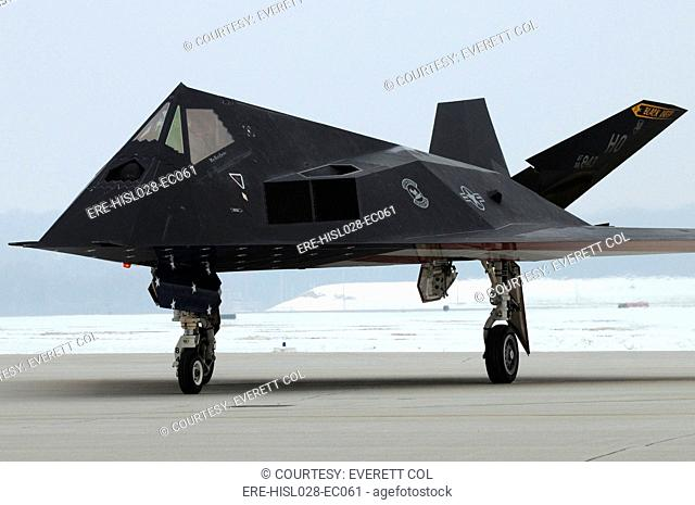 F-117 Nighthawk stealth fighter during its retirement ceremony at Wright-Patterson Air Force Base Ohio. In operation since in 1983 the F-177 was retired in 2008...