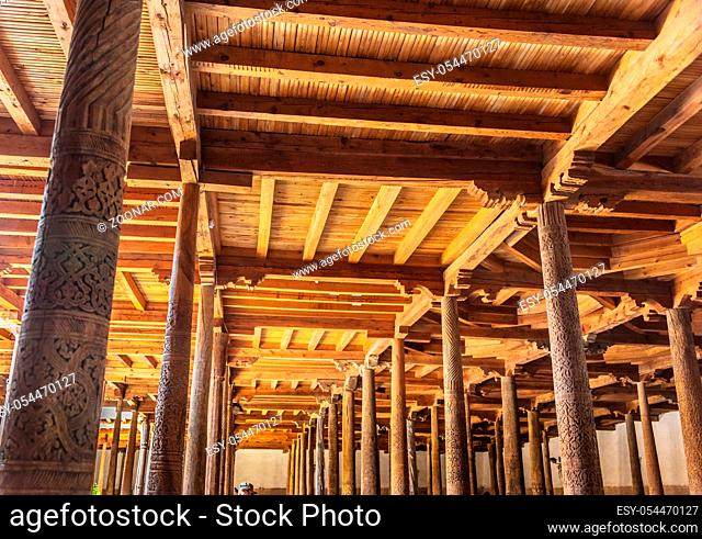 Interior of Juma Mosque located in Itchan Kala, walled inner town of the city of Khiva, Uzbekistan. UNESCO World Heritage Site