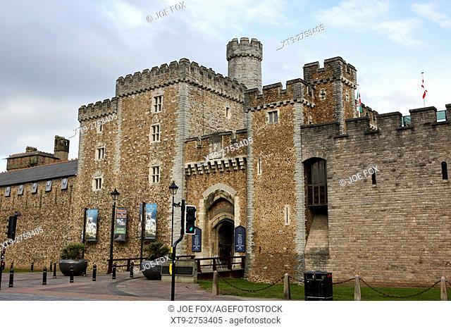 south gate entrance to cardiff castle Cardiff Wales United Kingdom