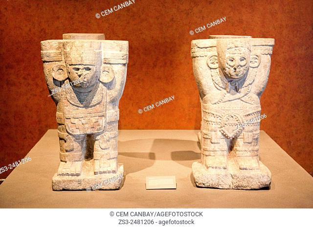 Sculptures from the Temple Of the Jaguars at Chichen Itza in Museo Nacional de Antropologia-The National Museum of Anthropology, Ciudad de Mexico, Mexico City