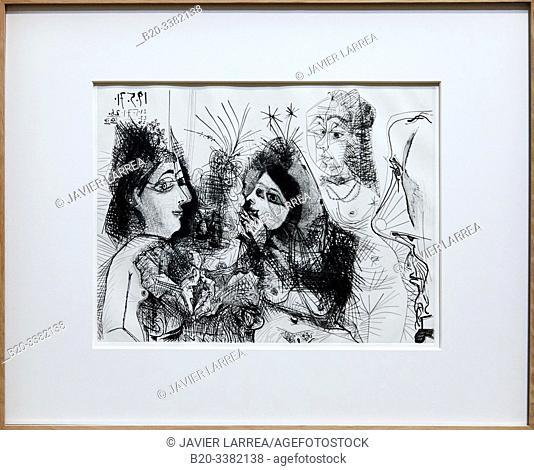 """""""Maison close. Médisances. Avec profil de Degas au nez foncé"""", 1971, Pablo Picasso, Picasso Museum, Paris, France, Europe"""