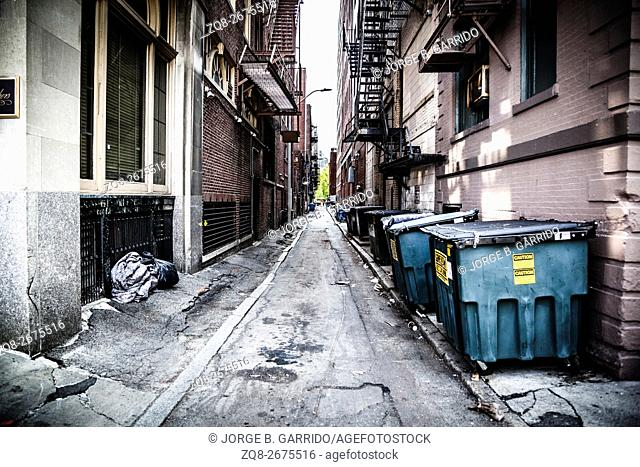 Dark alley in Boston, Massachusetts