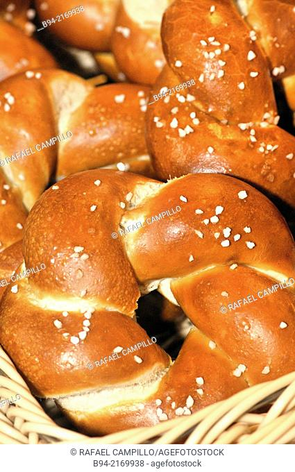 Pretzel type of baked bread product made from dough most commonly found in a unique knot-like shape, Pretzels originated in Europe