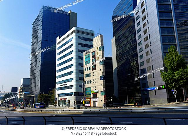Typical street with modern buildings,Seoul,South Korea