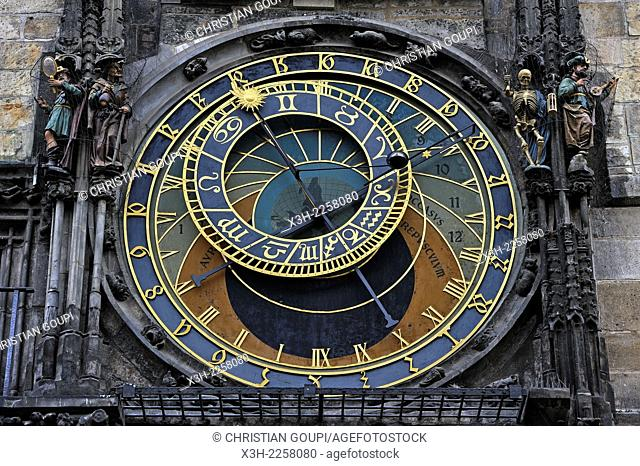 medieval astronomical clock mounted on the southern wall of Old Town City Hall in the Old Town Square, Prague, Czech Republic, Europe