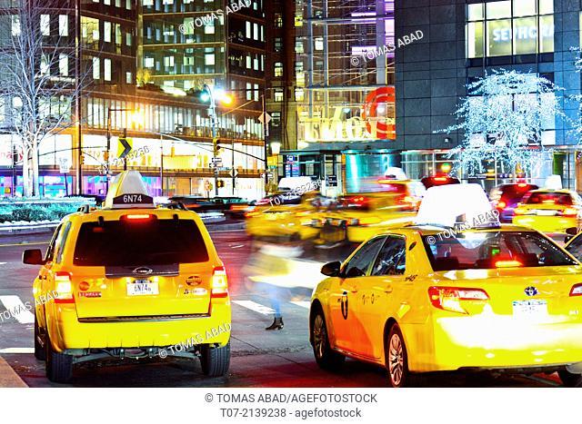 Rush hour traffic, Mass Transit, Broadway, 59th Street and Columbus Circle, Midtown Manhattan, New York City, USA