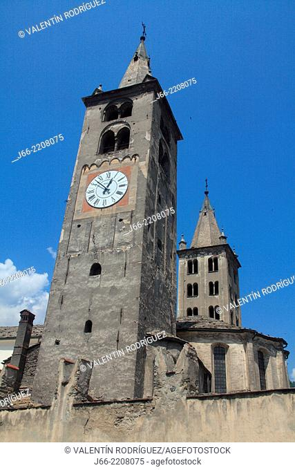 towers of the cathedral in Aosta. italy