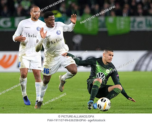 07 November 2019, Lower Saxony, Wolfsburg: Soccer: Europa League, VfL Wolfsburg - KAA Gent, Group Phase, Group I, 4th matchday in the Volkswagen Arena