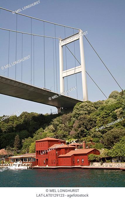 Fatih Sultan Mehmet Bridge, and Hekimbasi Salih Efendi Yali, are landmarks along the Bosphorus sea coastline. The mansion with red walls is the former home of a...