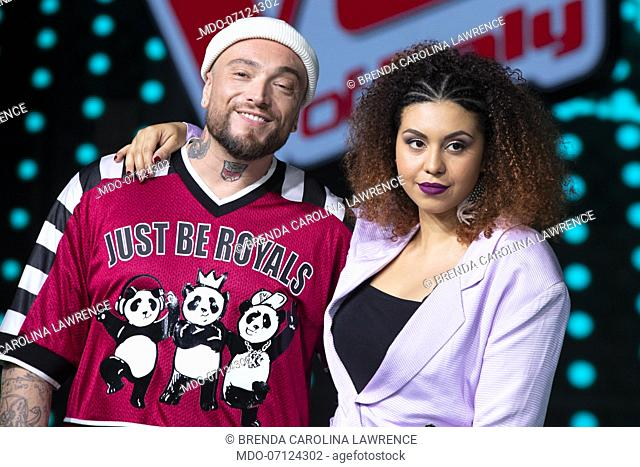 Gue Pequeno and Brenda Carolina Lawrence attend the press conference for the final episode of The Voice of Italy at the Rai studios