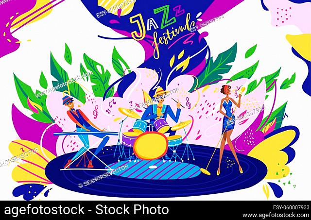 Musician band in jazz festival party vector illustration. Cartoon flat performers playing jazz soul music in musical show performance