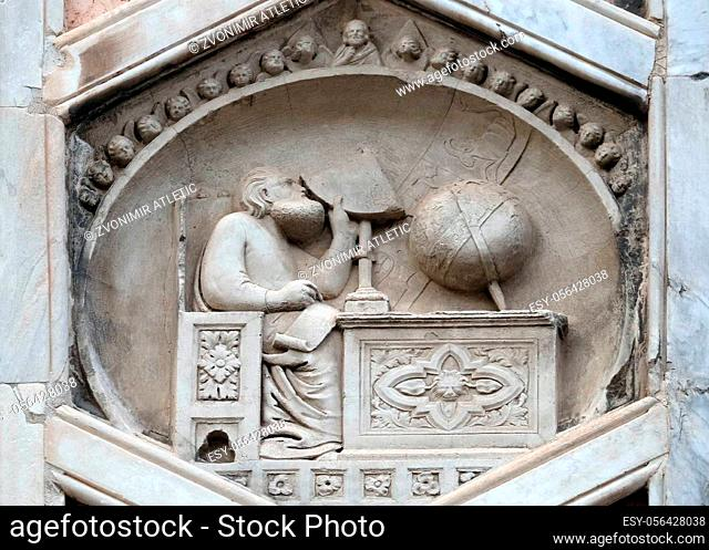 Gionitus. Inventor of Astronomy, (1334-1336). From the workshop of Andrea Pisano, Relief on Giotto Campanile of Cattedrale di Santa Maria del Fiore (Cathedral...