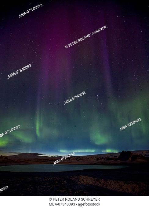 Iceland, northern lights, over lake, green, purple, starry sky, Aurora Borealis, southern Iceland