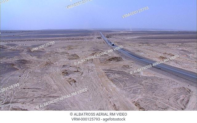Aerial footage of road in Negev Desert