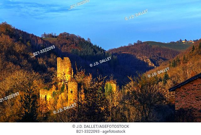 France, Auvergne, Cantal, Chaulnes castle ruins (XIIIc) by Saint Constant