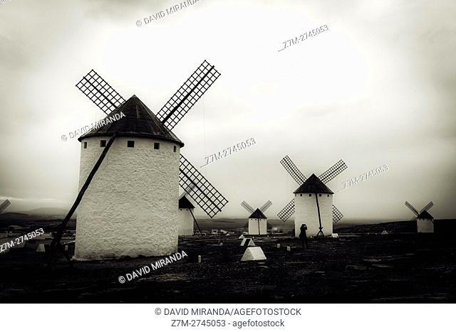 Traditional windmills, Barrio del Albaicín, Campo de Criptana, Ciudad Real province, Castile la Mancha, Spain. Route of Don Quijote