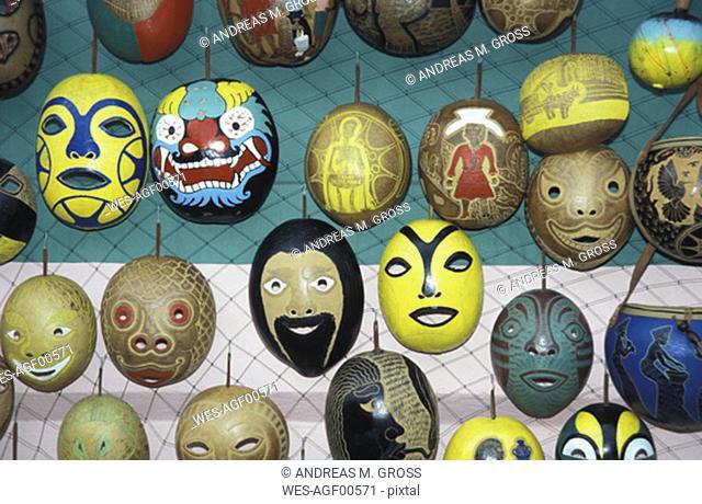 Masks on fence, Trinidad and Tobago