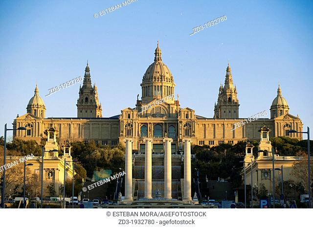 View of Montjuic, MNAC museum palace, Barcelona
