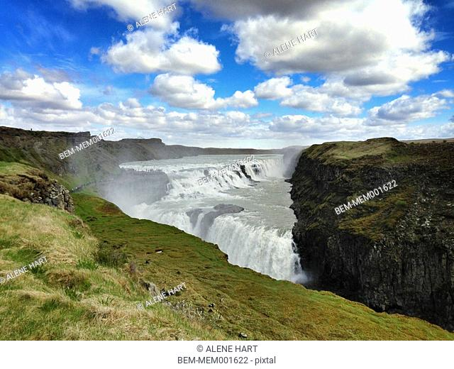 Gulfoss waterfall and cliffs, Reykjavik, Hofuoborgarsvaeoi, Iceland