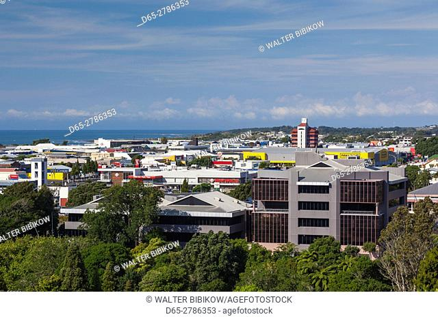 New Zealand, North Island, New Plymouth, elevated skyline view