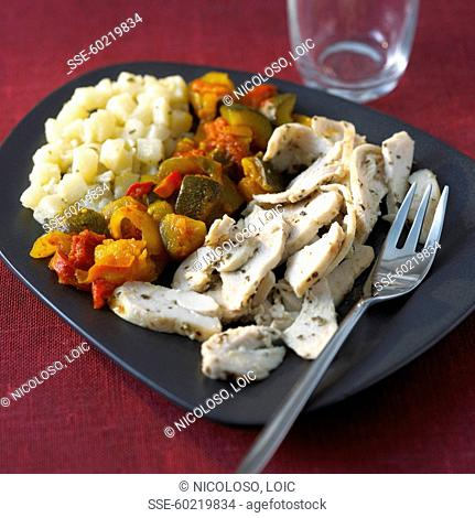 Sliced chicken breasts with herbs, ratatouille and diced potatoes