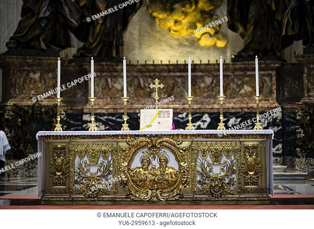 Altar for celebration of the Holy Mass chair of St. Peter, Saint Peter's Basilica, Vatican, Rome, Italy