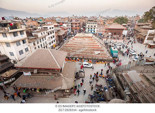 Aerial view of Maju Dega and Mahadev Parvati Temples, Durbar Square, Kathmandu